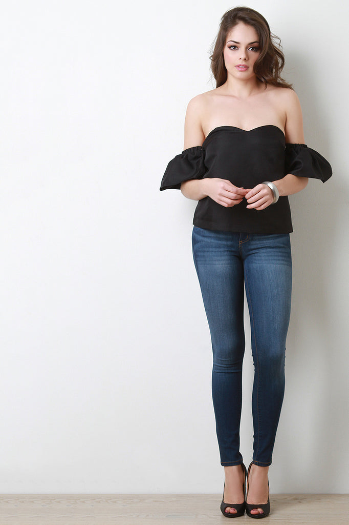 Strapless Bell Sleeve Tube Top