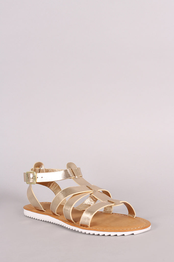 Bamboo Strappy Lug Sole Flat Sandal