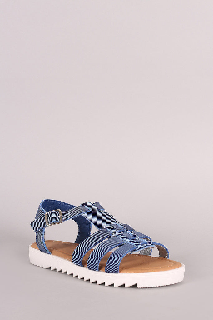 Bamboo Denim Strappy Lug Sole Fisherman Flat Sandal