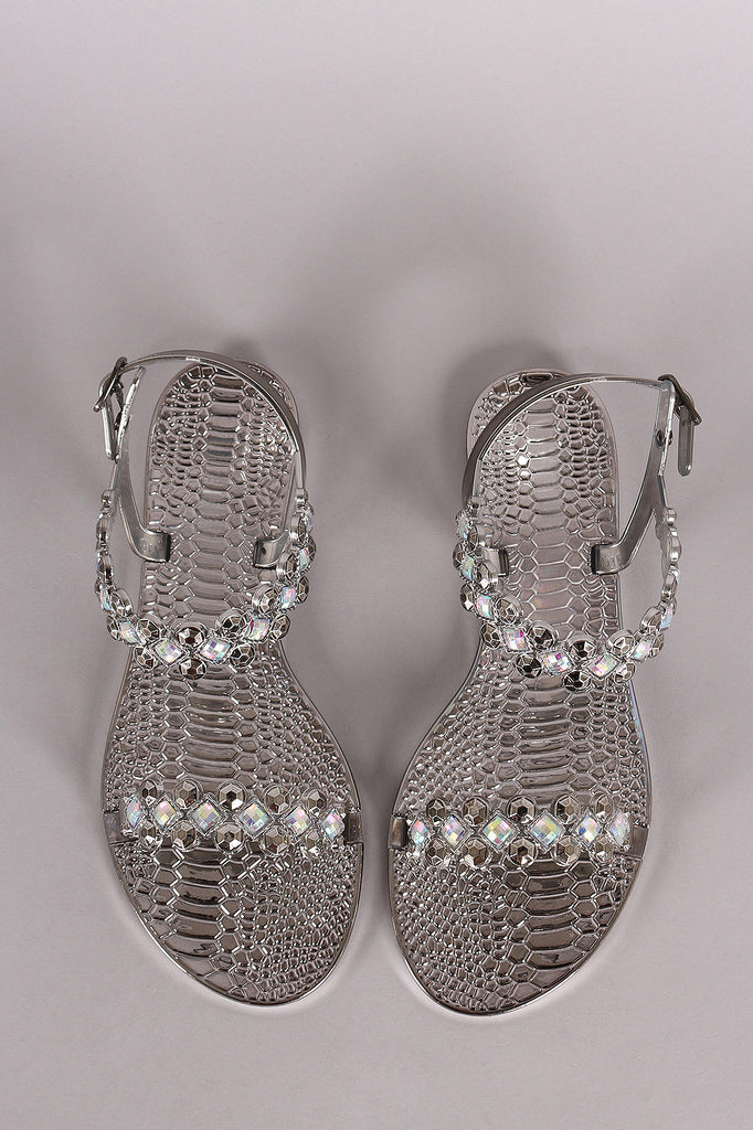 Liliana Jeweled Open Toe Jelly Flat Sandal