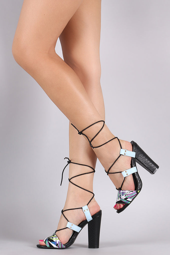 Abstract Neon Lace Up Chunky Heel