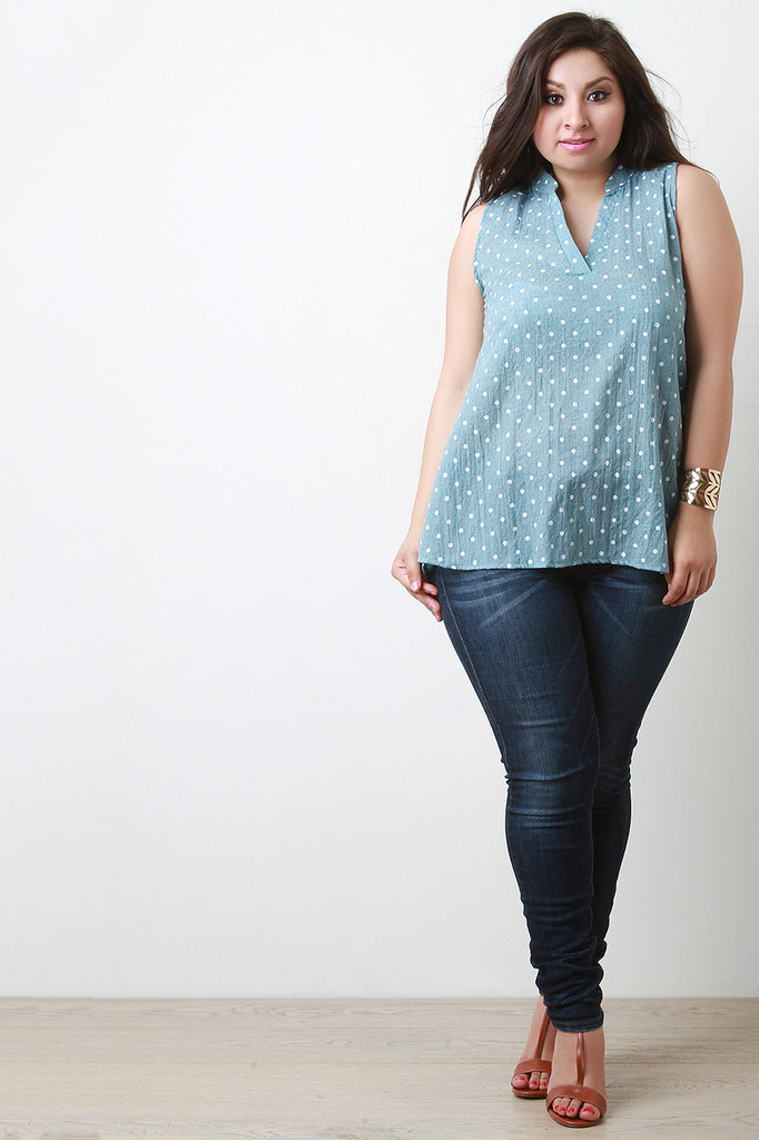 Airy Woven Sleeveless V Neck Top