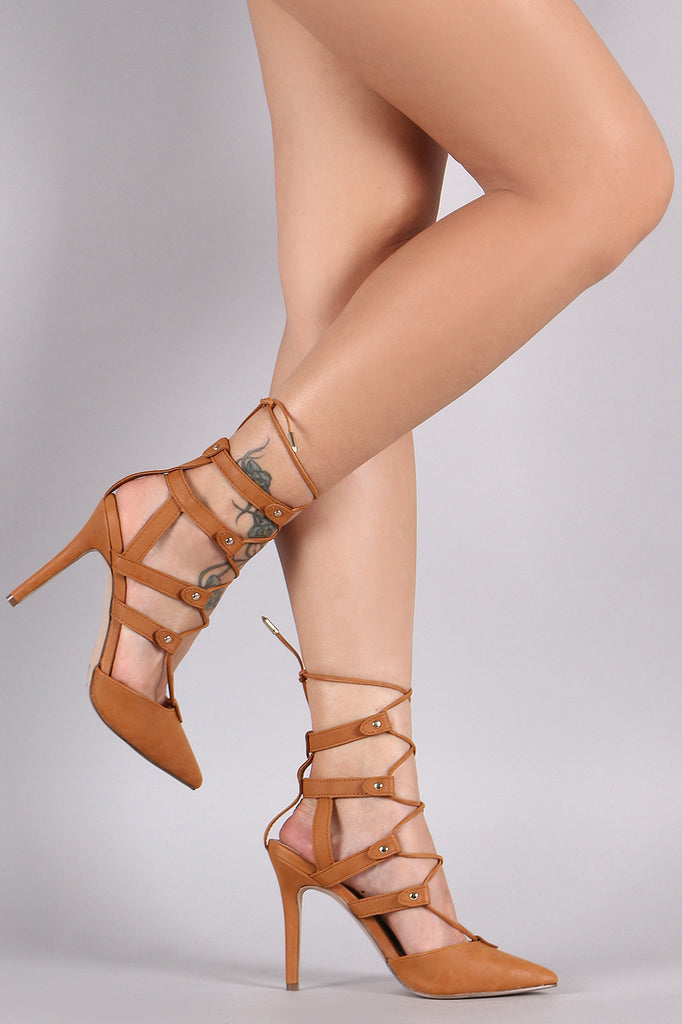 Breckelle Nubuck Pointy Toe Lace-Up Pump