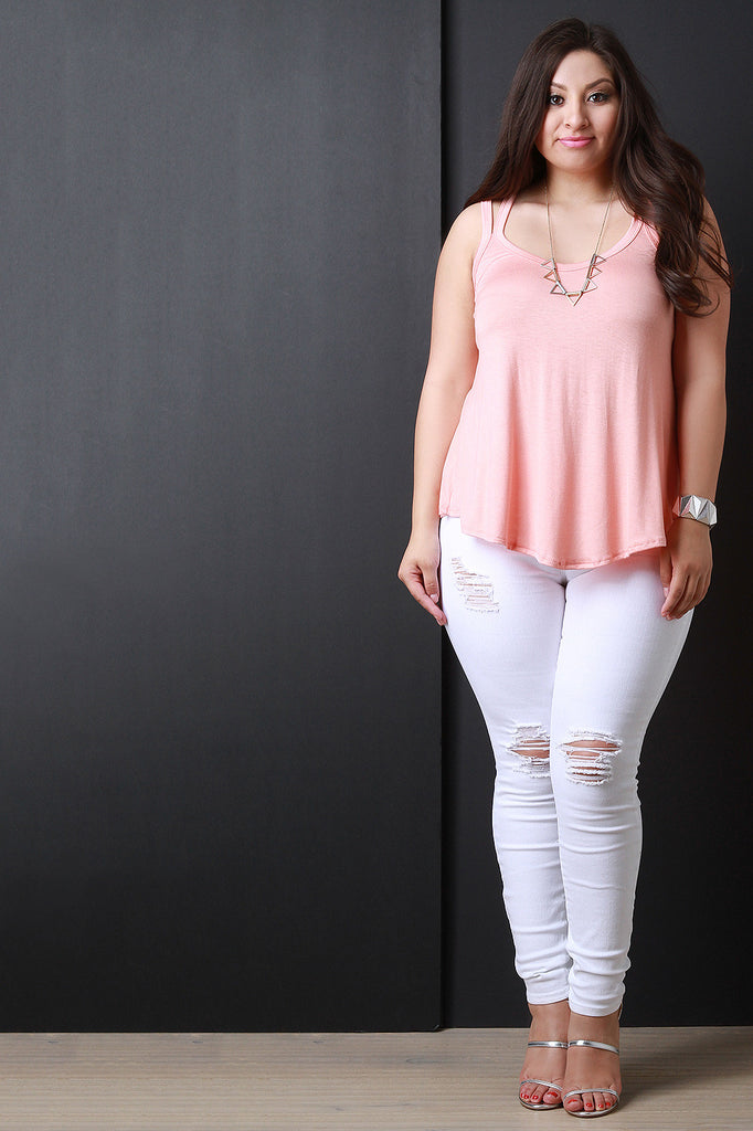 Solid Scoop Neck Double Strap Top