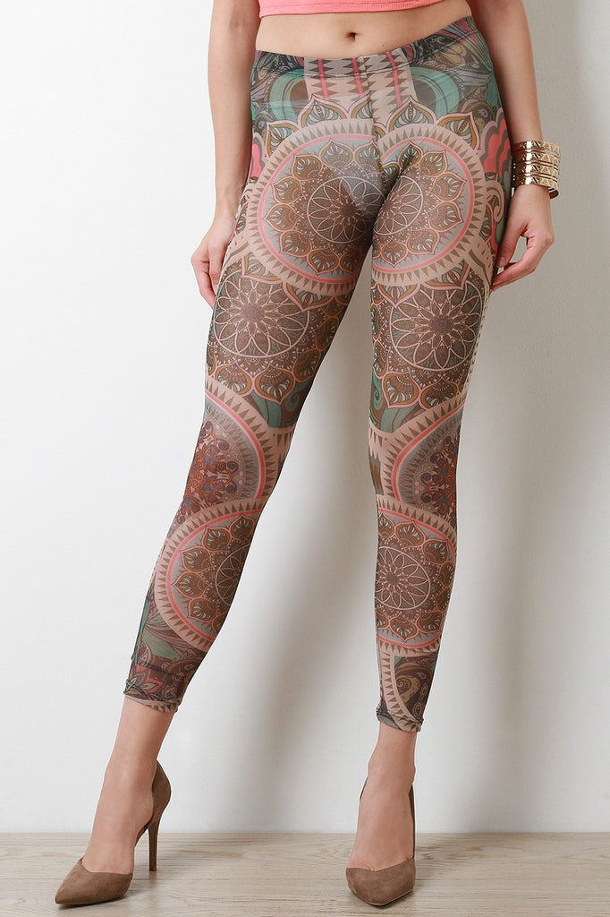 Tribal Paisley Pattern Semi-Sheer Mesh Leggings