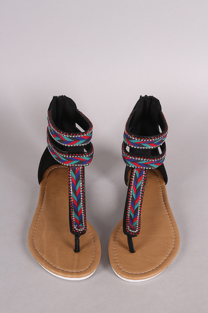 Beaded Chevron T-Strap Thong Flat Sandal