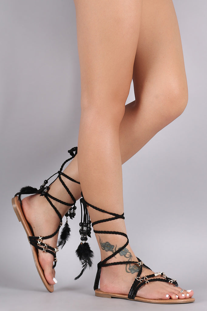 Liliana Braids Lace Up Feather Tassels Sandal