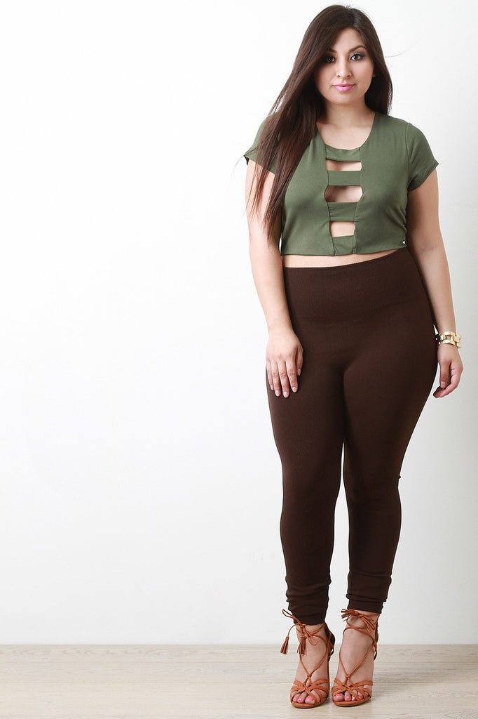 Banded Open Front Crop Top