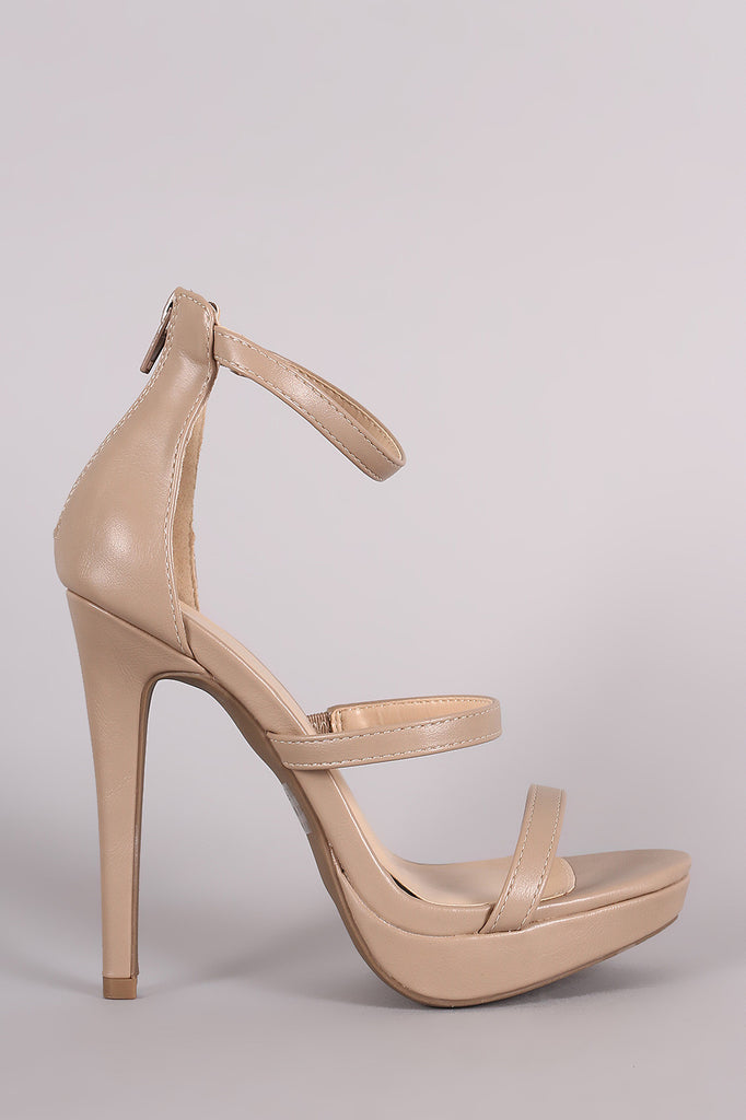 Wild Diva Lounge Triple Straps Open Toe Stiletto Heel