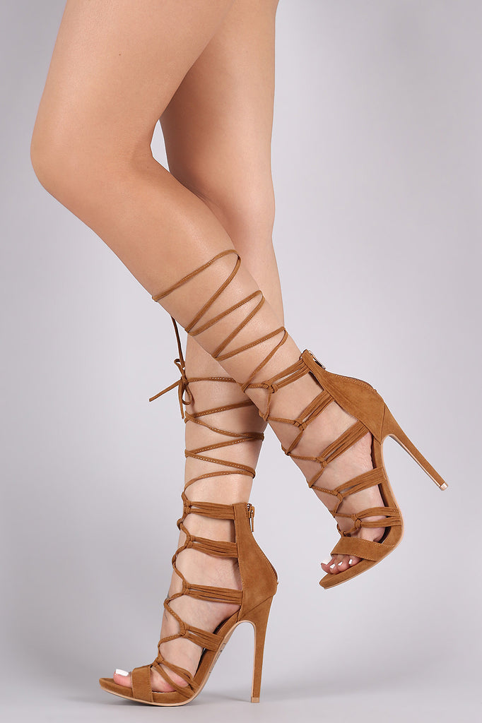 Shoe Republic LA Knotted Straps Lace-Up Stiletto Heel