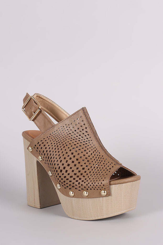 Qupid Perforated Slingback Studded Chunky Platform Mule Heel
