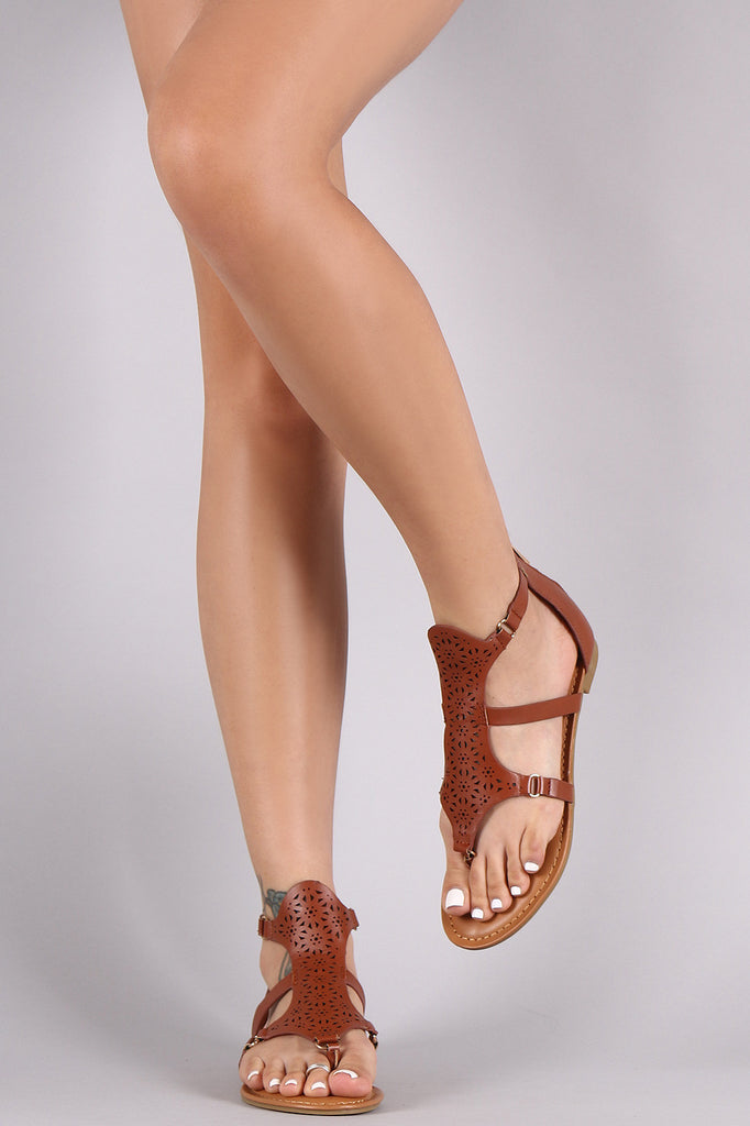 Bamboo Gladiator Perforated Thong Flat Sandal