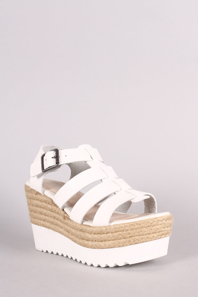 Bamboo Strappy Lug Sole Fisherman Espadrille Platform Wedge