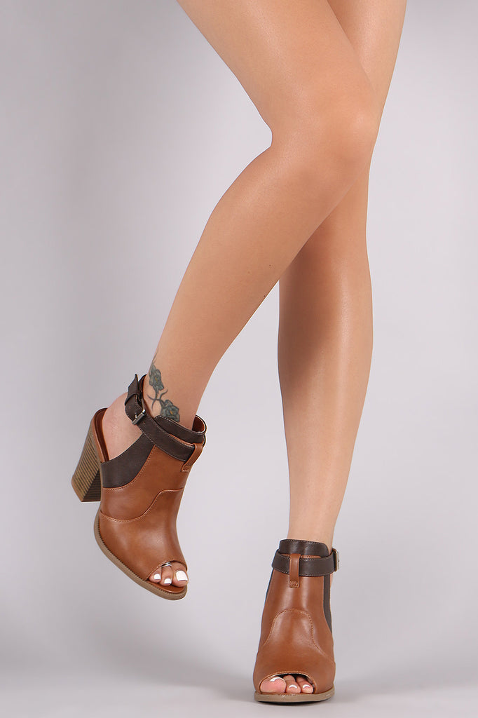 Wild Diva Lounge Coloblock Ankle Strap Chunky Heeled Mule Booties