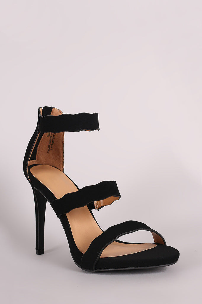 Anne Michelle Nubuck Triple Scalloped Straps Stiletto Heel