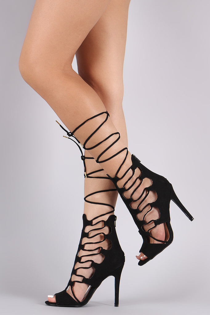 Qupid Suede Lizard Side Cutout Lace-Up Stiletto Heel