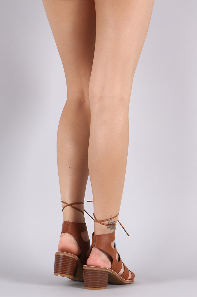 Bamboo Strappy Lace-Up Gladiator Chunky Heel