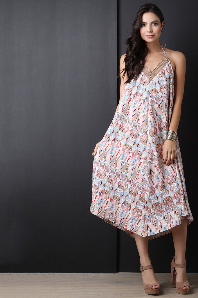 Backless Tribal Trapeze Midi Dress