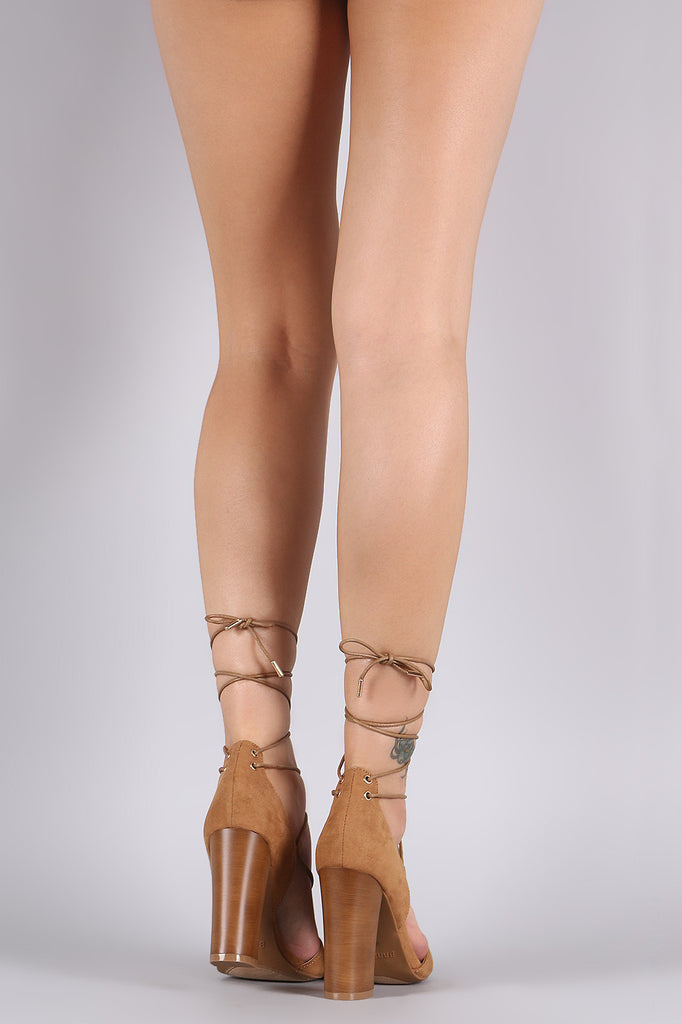 Bamboo Lace Up Wooden Chunky Heel
