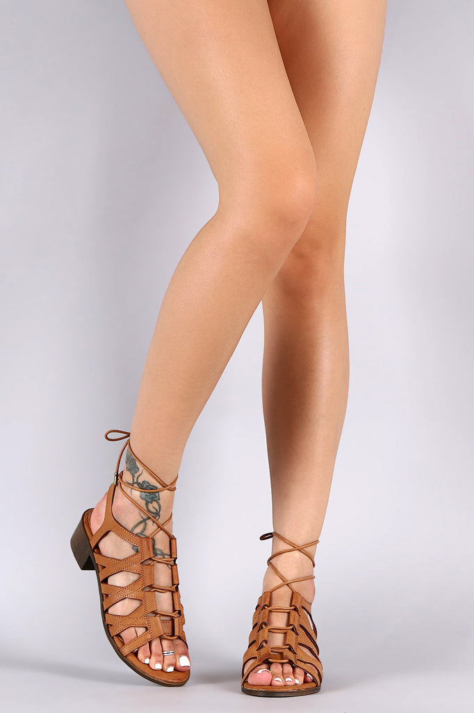 Bamboo Ghillie Lace Up Chunky Heel