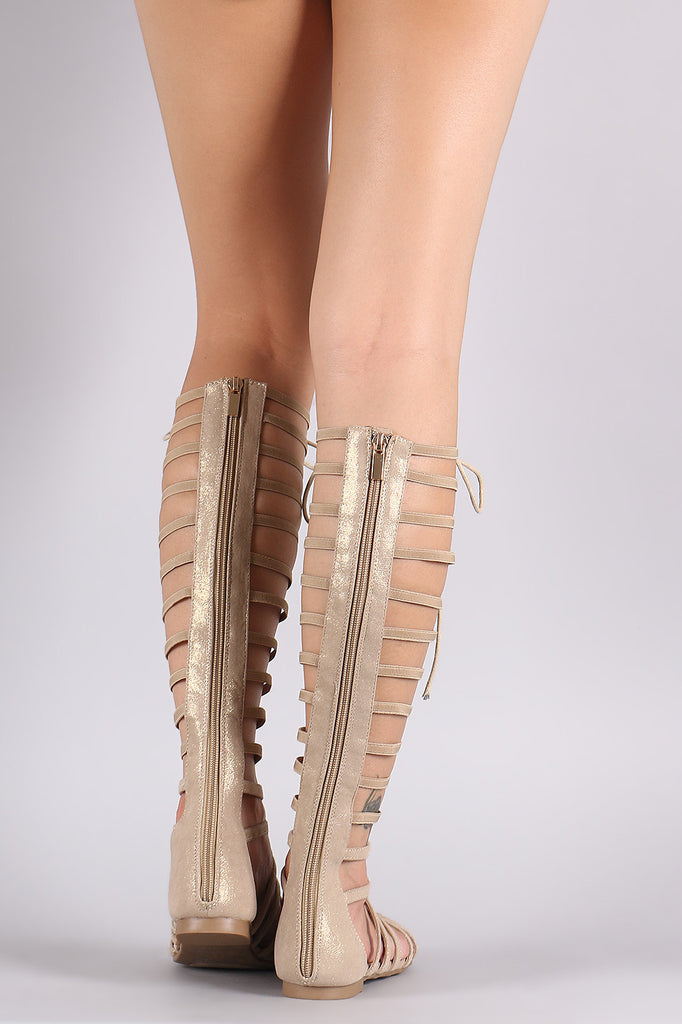 Bamboo Shimmer Strappy Studded Lace-Up Gladiator Sandal
