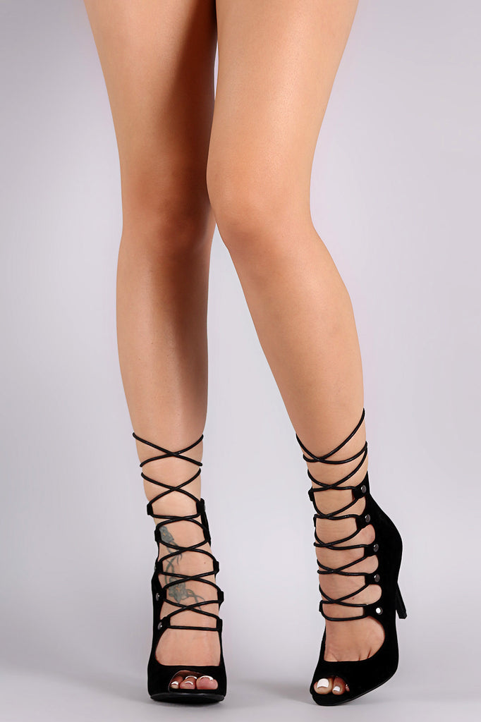 Shoe Republic LA Studded Corset Lace-Up Stiletto Heel