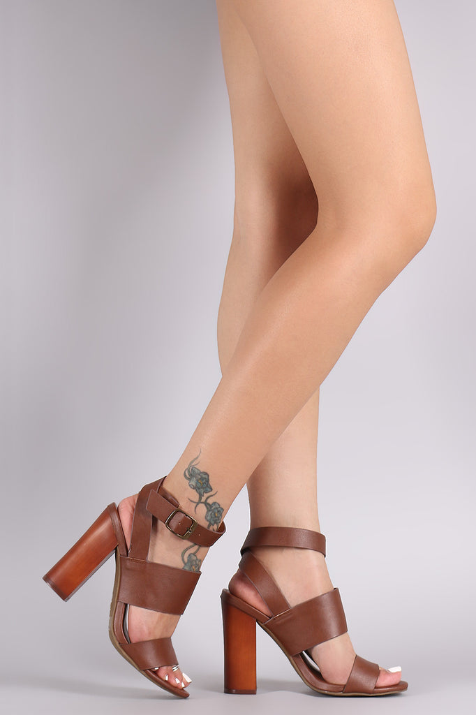 Bamboo Ankle Wrap Open Toe Wooden Heel