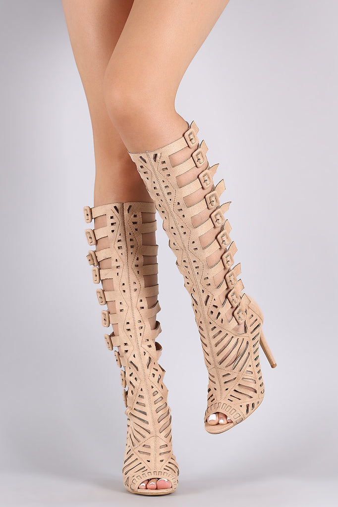 Suede Buckled Strappy Cutout Stiletto Heel