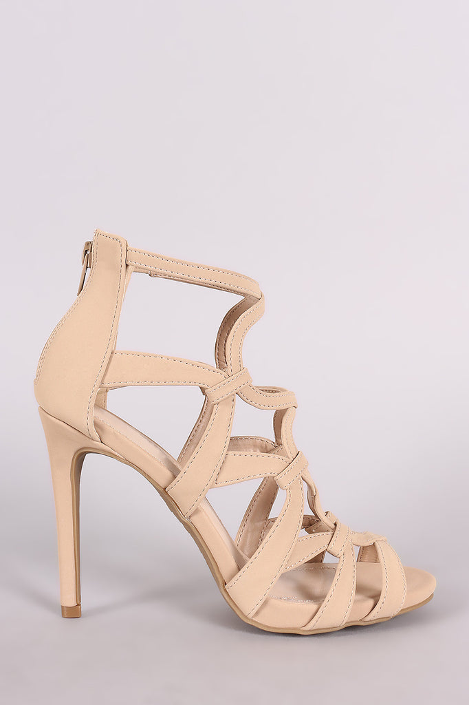 Anne Michelle Nubuck Strappy Caged Stiletto Heel