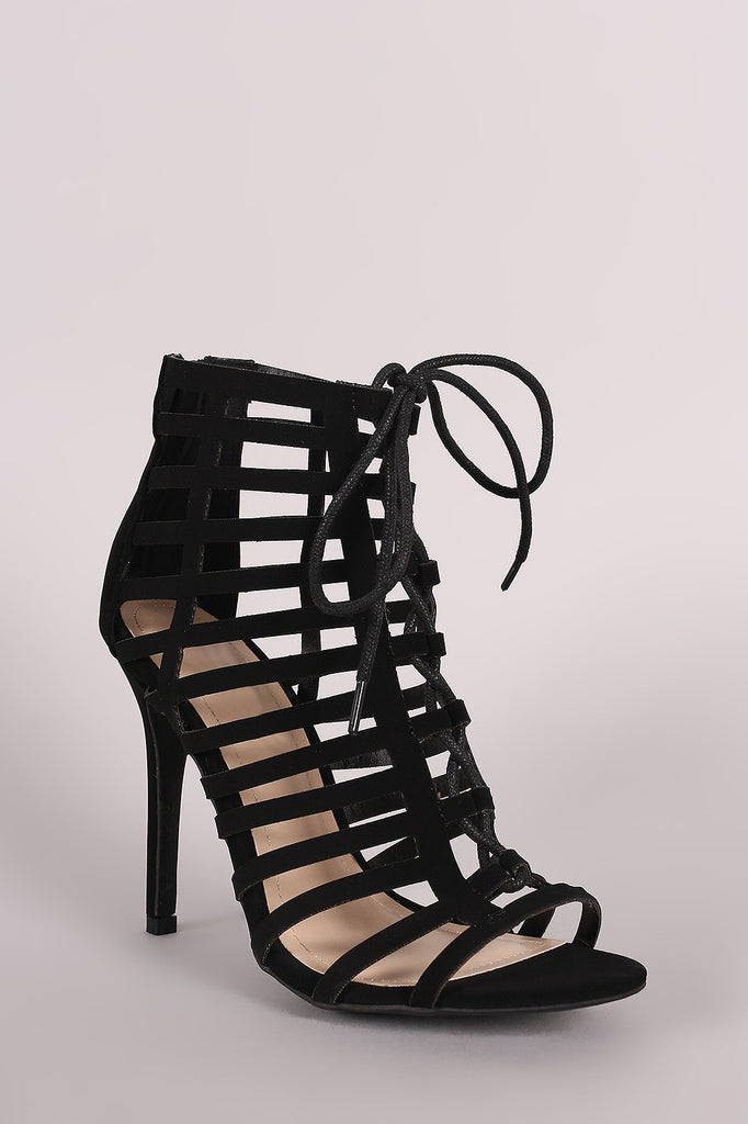 Anne Michelle Nubuck Caged Lace Up Stiletto Heel