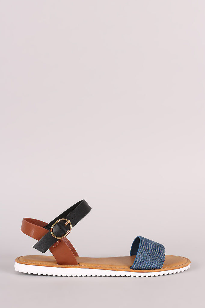 Bamboo Colorblock Denim Ankle Strap Lug Sole Flat Sandal