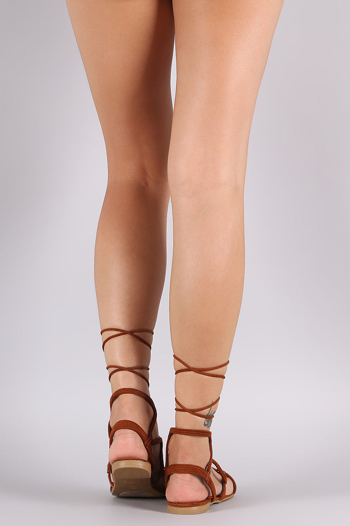 Bamboo Suede Wavy Lace Up Sandal