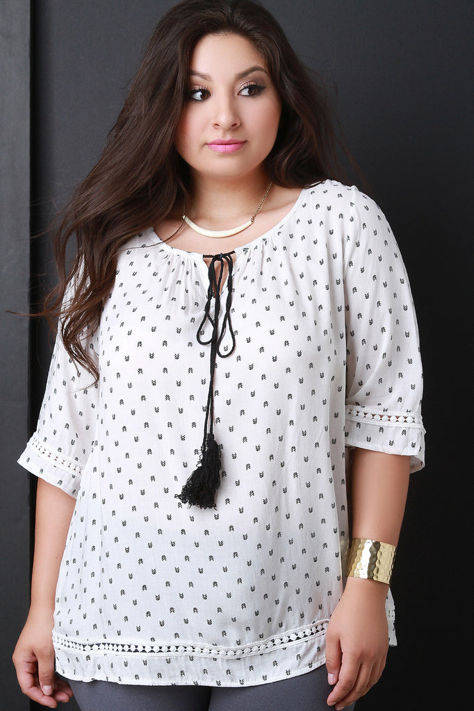 Arrow Print Peasant Top