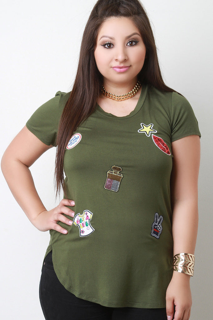 Assorted Sequin Patches Short Sleeves Tee