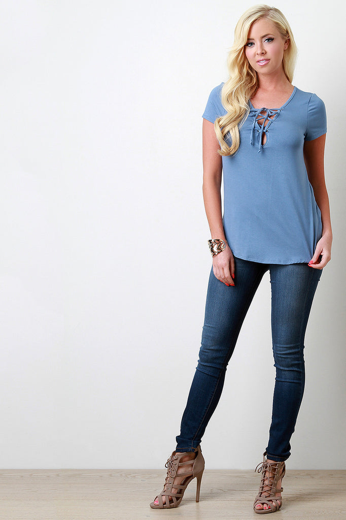 Basic Lace-Up V-Neck Jersey Top