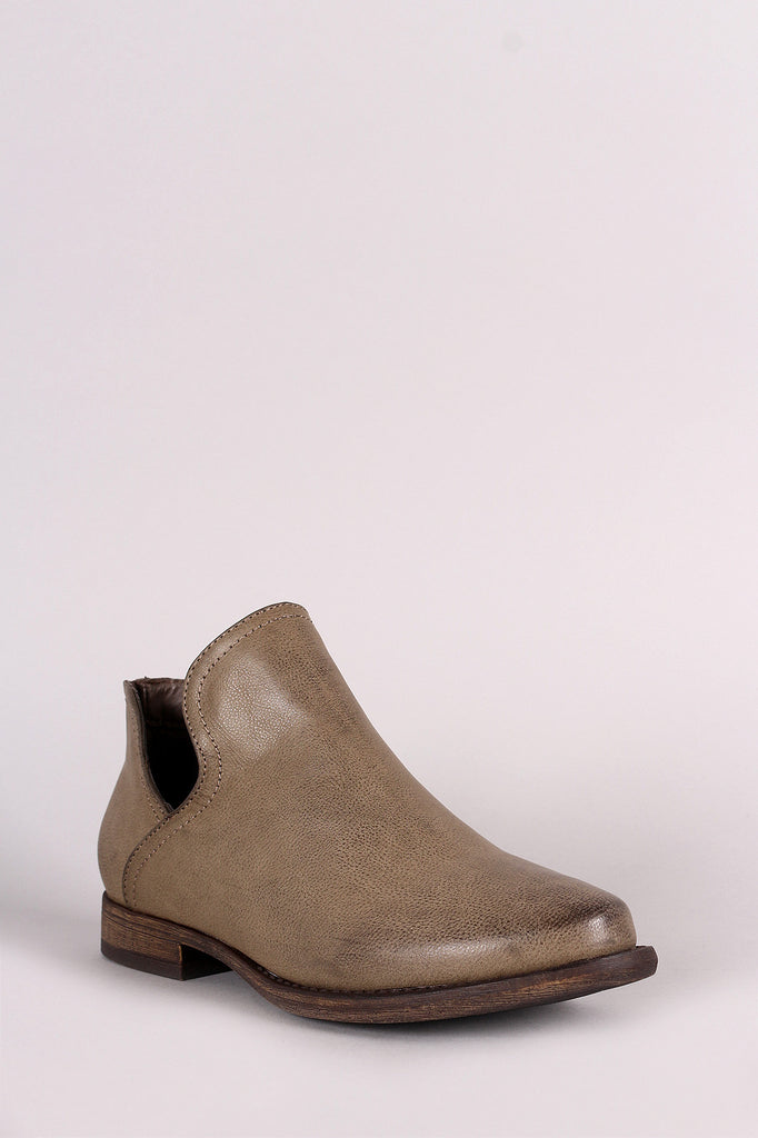 Bamboo Open Side Almond Toe Booties