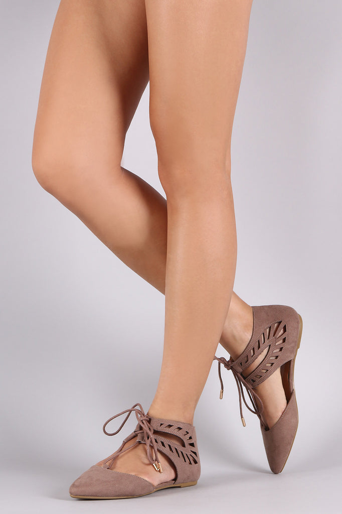 Bamboo Pointy Toe Cutout Lace-Up Ghillie Flat