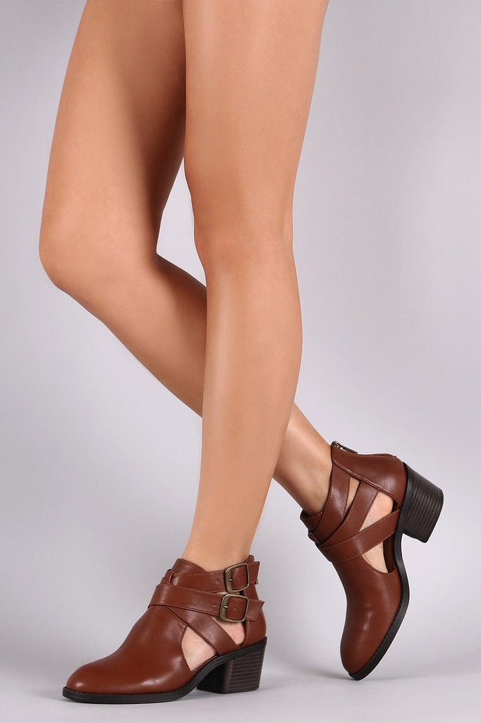 Bamboo Side Cut Out Strappy Block Heel Booties