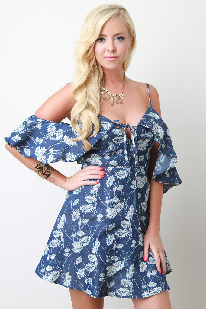Floral Print Cold Shoulder Ruffle Skater Dress
