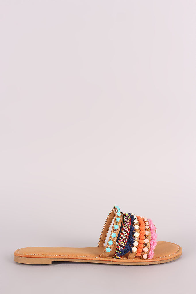 Bamboo Strappy Jeweled Toe Ring Slide Flat Sandal