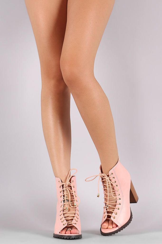 Combat Lace Up Open Toe Booties