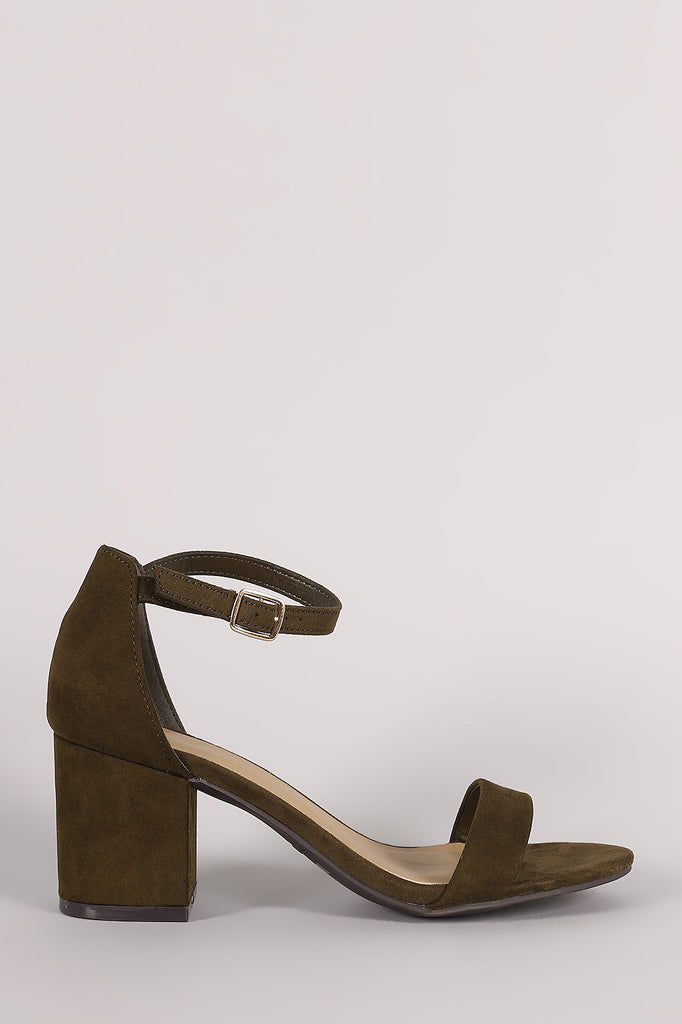 Bamboo Suede Ankle Strap Open Toe Block Heel