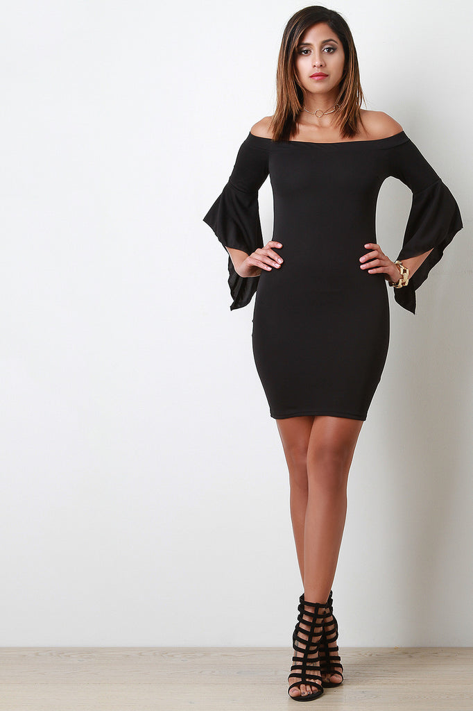 Bardot Flutter Bell Sleeves Mini Dress