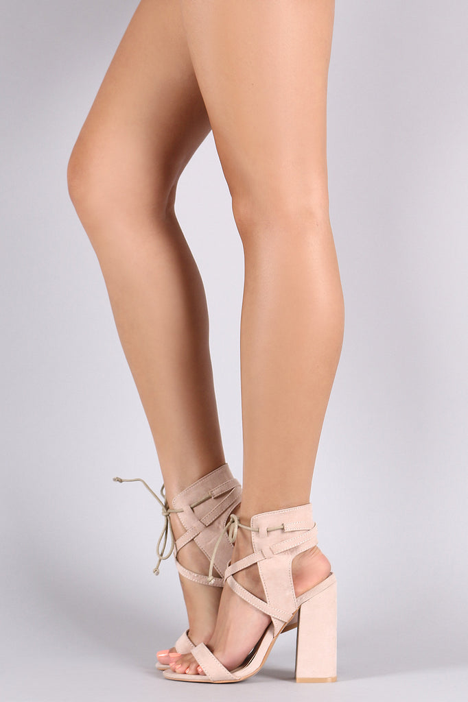 Ankle Lace Up Chunky Open Toe Heel