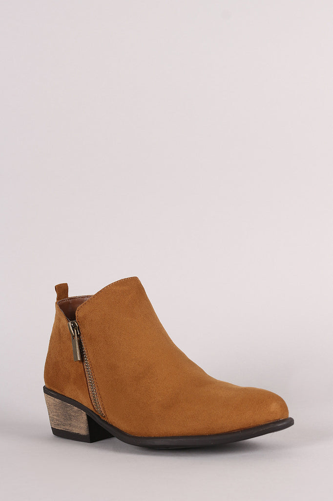 Bamboo Suede Zipper Ankle Boots