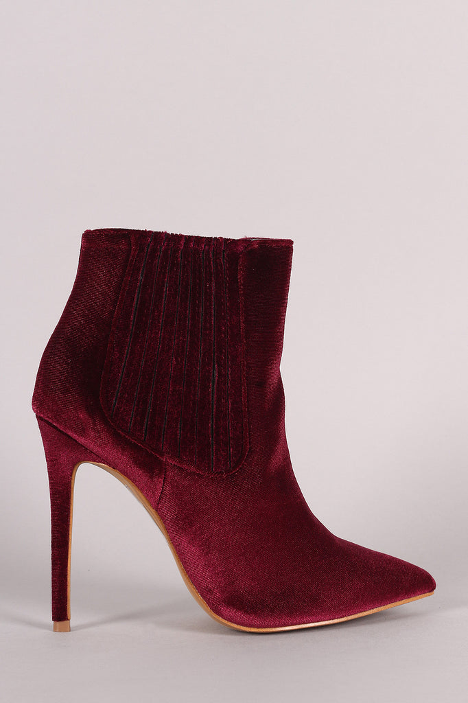Shoe Republic LA Velvet Pointy Toe Stiletto Booties
