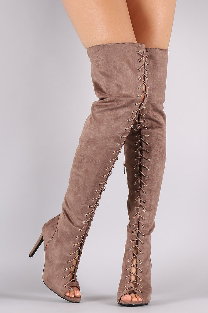 Anne Michelle Over The Knee Open Toe Lace Up Boot
