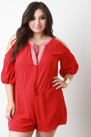 Tribal Trim V-Neck Cold Shoulder Romper
