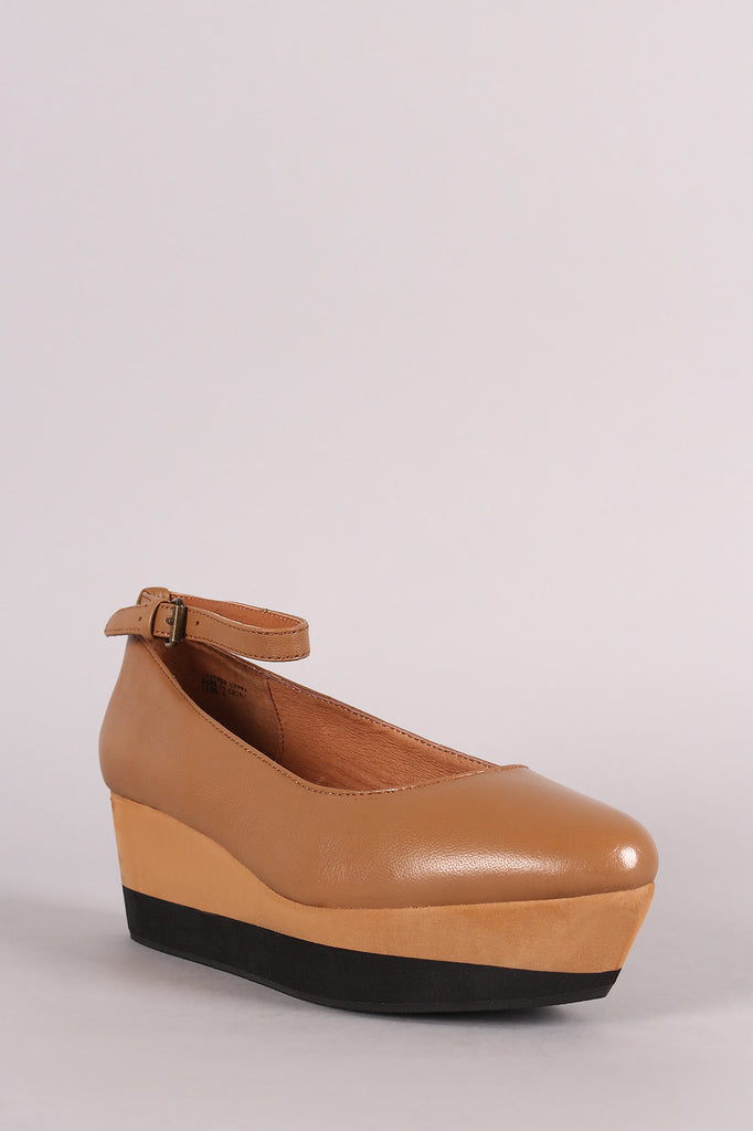 Ankle Strap Almond Toe Napa Leather Flatform Wedge