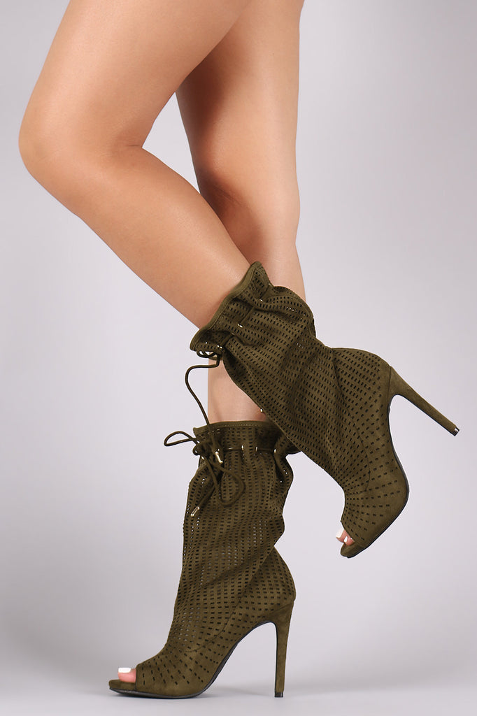 Anne Michelle Slouchy Perforated Peep Toe Booties